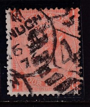 Great Britain 1865 QV 4d vermilion Plate-12 Two Margin Stamp VF/(o)