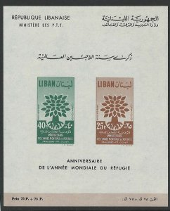 Lebanon 1960 World Refugee Year m/sheet sgMS648a f mint c£42
