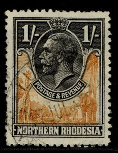 NORTHERN RHODESIA GV SG10, 1s yellow-brown & black, FINE USED.