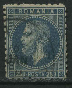 Romania 1879 25 bani blue CDS used