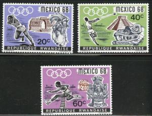 RWANDA Scott 250-252 MH* Mexico 68 Olympic short set