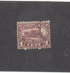 NEW BRUNSWICK # 6 VF-USED  1cts  LOCOMOTIVE 1860 / RED LILAC  CAT VALUE $20
