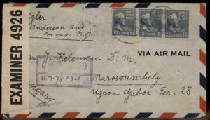 USA 1941 15c Prexie x3 Marosvasarhely Hungary Censor Transatlantic Cover 86033