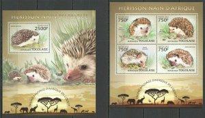 TG609 2013 TOGO WILD FAUNA OF AFRICA WILD ANIMALS HEDGEHOGS HERISSON KB+BL MNH