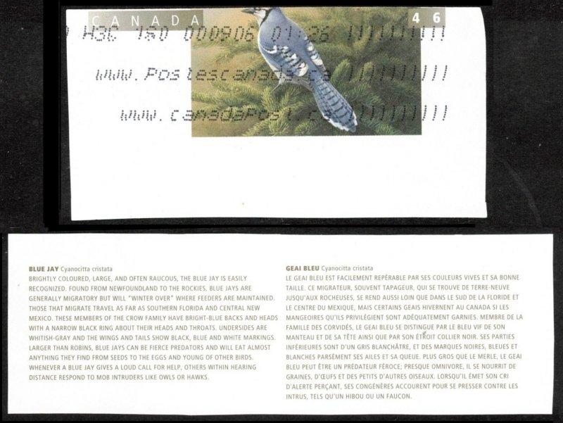 CANADA 1996 BIRDS TOPICAL CUT SQUARE SCARCE #U16I BLUE JAY + CANADA POST LABEL