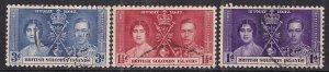 British Solomon Islands 1937 KGV1 Set Coronation used SG 57 - 59 ( E300 )