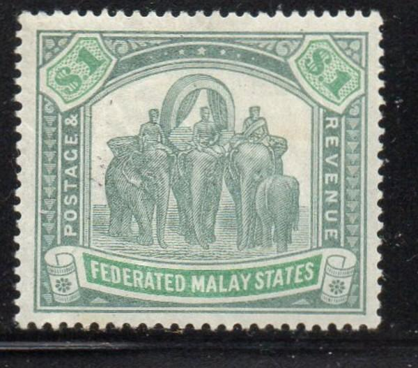 Malaya  Sc 73 1926 $1 gray grn & yellow grn Elephants stamp mint