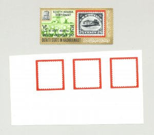 Aden (Qu'aiti) MI #105 1v Strip of 3 Border Proofs & 1v Issued Stamp