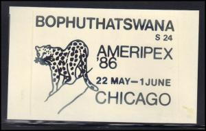 Paper Card Showing Bophuthatswana Cancel AMERIPEX '86 BoxCV0374