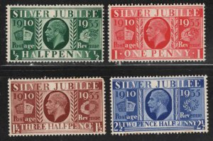 Great Britain Scott 226-229 MNH**1935 Silver Jubilee set Toned Gum see backscan