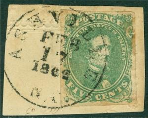 EDW1949SELL : CONFEDERATE 1861 Scott #1 VF, Used on piece Feb 17, 1862 Cat $175+
