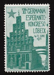 REKLAMEMARKE POSTER STAMP ⭐ ESPERANTO-KONGRESO ⭐ LÜBECK 1911