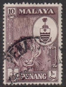 Malaya Penang Scott 61 - SG60, 1960 Tiger 10c used
