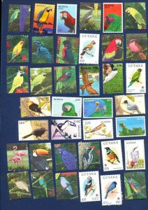 GUYANA - VF MNH - BIRDS - large lot  see the three scans