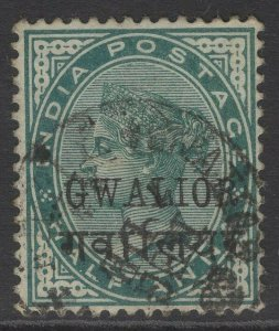 INDIA-GWALIOR SG16c 1889 ½a BLUE-GREEN INSCR 15-15½mm LONG USED