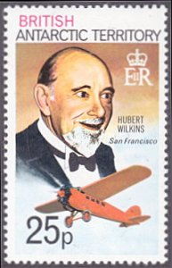British Antarctic Territory # 57a mnh ~ 25p Hubert Wilkins and Airplane, wmk....