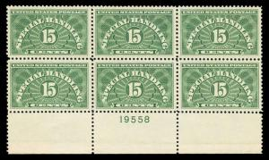 momen: US Stamps #QE2a Mint OG NH Plate Block of 6 SUP