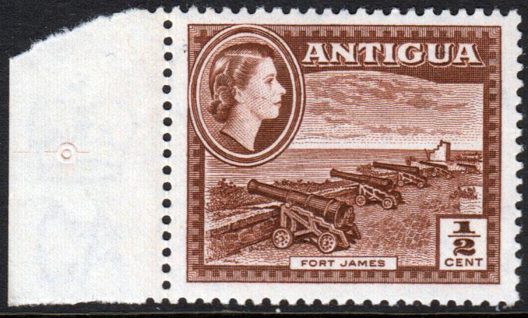 Antigua QEII 1953 1/2c Brown SG120a Mint Lightly Hinged