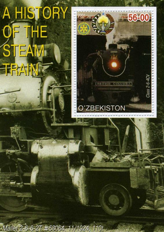 Uzbekistan 2001 Steam trains s/s Perforated mnh.vf