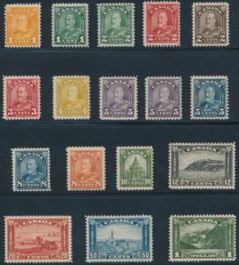 CANADA #162-177 ARCH-LEAF ISSUE, ALL VF OG NH EXCEPT #172 CV $1101.50 HV2687