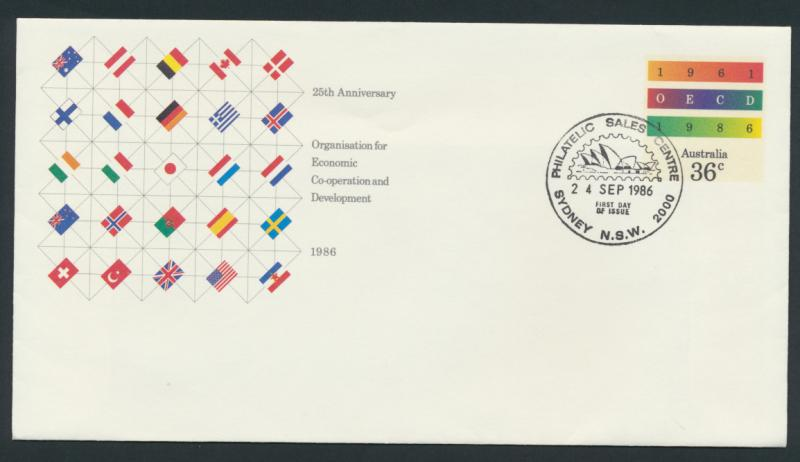 Australia PrePaid Envelope 1986 25th Anniversary  OECD Economic Development