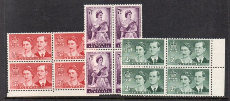 Australia Sc 267-9 1954 Royal Visit stamps block of 4 mint NH