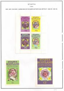 SCOTLAND - STAFFA - 1985 - Guides Red o/p - Perf 4v, Souv, De Luxe Sheets - MLH