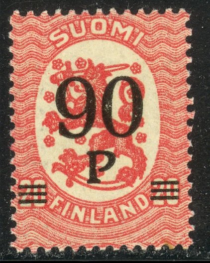 FINLAND 1921 90p on 20p Surcharged Arms Issue Sc 125 VFU