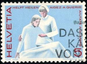 Nurse and Patient, Switzerland stamp SC#462 used