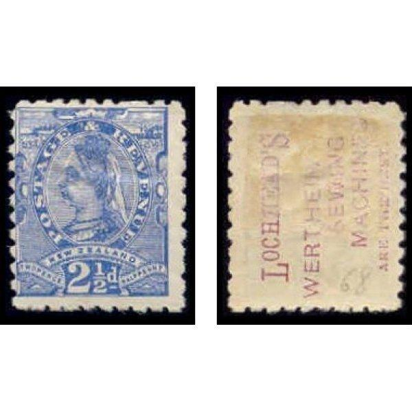 New Zealand 1893 2 1/2d Stamp w/ Advertising Underprint