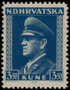 ✔️ CROATIA 1943/44 - PAVELIC DARK BLUE - PERF L11½ - SC. 68a ** MNH OG [CR106]
