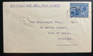 1930 Scarborough Trinidad & Tobago first flight Airmail Cover FFC To Port Spain