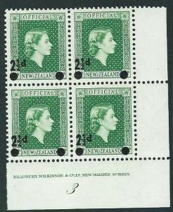 NEW ZEALAND OFFICIAL 1961 2½d overprint plate block of 4 - plate 3 MNH.....43608
