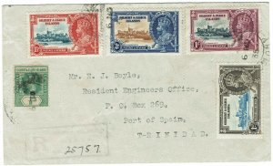 GILBERT & ELLICE ISLANDS 1935 KGV SILVER JUBILEE SET ON REG COVER TO TRINIDAD