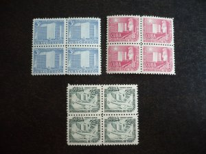 Stamps - Cuba - Scott# 513,C90-C91 - Mint Hinged Set of 4 Stamps in Blocks,
