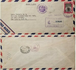 A) 1956, GUATEMALA, AIRMAIL, COVER SHIPPED TO NEW YORK, CERTIFIED 13456, AGRICUL