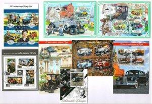 Cars, Motor Vehicles x 8 Souvenir Miniature Sheets CTO Used
