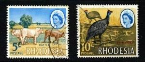 RHODESIA Queen Elizabeth II 1966 5/- & 10/- High Values SG 385 & SG 386 VFU