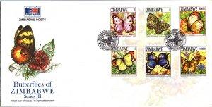 Zimbabwe, Worldwide First Day Cover, Butterflies