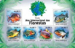 Mozambique MNH S/S Forest Piranha Fish 2011 6 Stamps