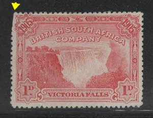 Rhodesia Scott 76 Victoria Falls stamp no gum, clipped pefrs at upper left