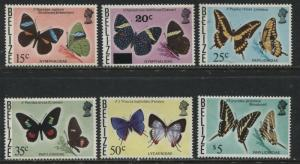 Belize 1974-77 Butterfly definitives 6 various values to $5 mint o.g.