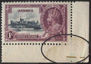 Jamaica 112 (mnh, adhesion on obverse!) 1sh Silver Jubilee, brn vio & ind (1935)