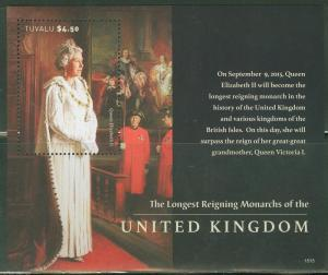 TUVALU 2015 QUEEN ELIZABETH THE LONGEST REIGNING BRITISH  MONARCH S/S  MINT NH