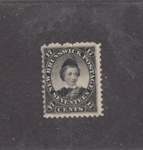NEW BRUNSWICK # 11 VF-MNG 17cts 1860 PRINCE OF WALES /BLACK/CENTS ISSUE-1 CV $75