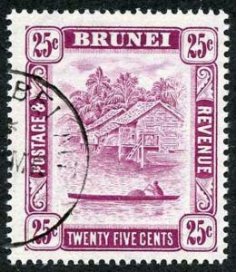 Brunei SG87b 1951 25c Deep Claret Perf 14.5 x 13.5 Fine Used
