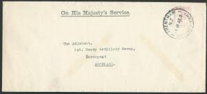 NEW ZEALAND 1940 OHMS cover, 1d meter, TRENTHAM MILITARY CAMP cds..........58611