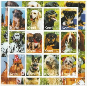 Komi MNH S/S Sweet Dogs 12 Stamps