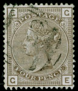 SG160, 4d grey-brown plate 18, FINE USED. Cat £75. GE