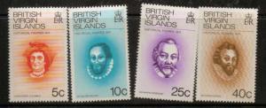BRITISH VIRGIN ISLANDS SG312/5 1974 HISTORICAL FIGURES MNH